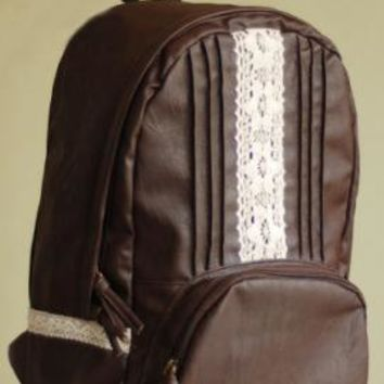 Coffee Break Vintage Crochet Lace and Pintuck Pleated Backpack in Dark Roast | Sincerely Sweet Boutique