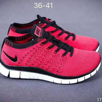 Nike NIKE FREE FLYKNIT NSW barefoot line running shoes high quality perfect new goods F-SSRS-CJZX Red