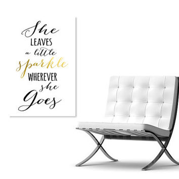 She Leaves a Little Sparkle Wherever She Goes Quote on Canvas, Large Oversized Wall Art, Print, Baby Girl Canvas Art