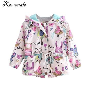 Xemonale spring&summer girls jackets children coat gilrs casual hooded cartoon outerwear hand painted kids clothing girls