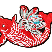 Beautiful XXL Extra Large 30cm Red Koi Fish Patch Applique