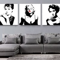 InDesign Wall Art *Sexy Marilyn Monroe / Audrey Hepburn / Liz Taylor * Modern Home Decor - Top Quality Canvas Print Set Of 3 - Stretched & Ready to Hang - Each Panel 20x20x1 inches / 50x50x2.5 cm - Customized Sizes Available On Request - Money Back Guarant