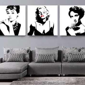 Amazing InDesign Wall Art *Sexy Marilyn Monroe / Audrey Hepburn / Liz Taylor *  Modern Home Dec