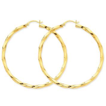 3 x 60mm Polished 14k Yellow Gold X-Large Twisted Round Hoop Earrings
