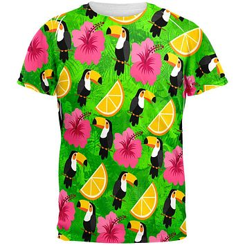 Tropical Vacation Tucan Pattern All Over Mens T Shirt