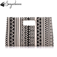 2016 Black & White Large Canvas Women Envelope Clutch Evening Bag and Wedding Bags Ladies Party Handbag Purse Geometric Patterns