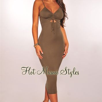 Olive Ruched Tie Up Spaghetti Straps Midi Dress