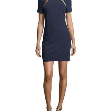 Alice + Olivia Kristiana Short-Sleeve Fitted Dress with Cutout Details