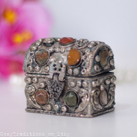 Indian Jewelry Box: Vintage Metal Rectangular Indian Jewelry Box Decorated with Stone Cabochons, Gift for Her