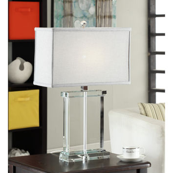 Crystal Rectangular Table Lamp with Grey Shade | Overstock.com Shopping - The Best Deals on Table Lamps