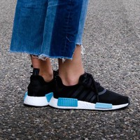 Best Online Sale Adidas WMNS NMD R1 Core Black/Icey Blue Boost Sport Running Shoes Classic Casual Shoes Sneakers