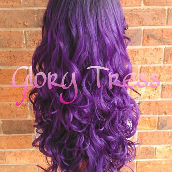 ON SALE // Kim Kardashian Celebrity Hairstyle, Ombre Purple Wig, Long Loose Curly Lace Front Wig // PERFECTION (Free Shipping)