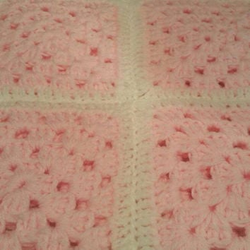 rainbow afghan granny blanket pale pink and white w22 ins l30 ins double knit wool crochet with 2 strands of wool extra thick and warm gift