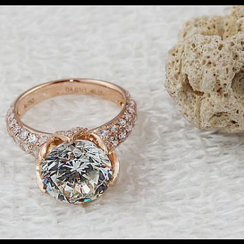 Stamp pt950 Luxury 4 carat lab NSCD diamond ring,Rose gold plated engagement & wedding ring,925 sterling silver jewelry