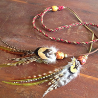 Hippie Braided Leather Headband - Natural Bohemian Feather Headband with Wood Beads Ready To Ship Head Wrap