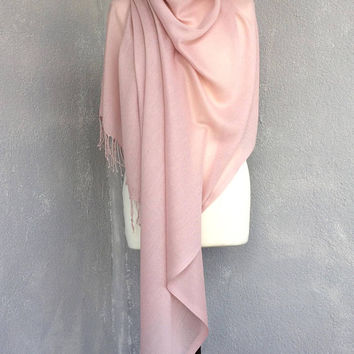 Pashmina Scarf, Powder Pink Shawl, Bridal Scarf, Oversize Cotton Scarf, Wrap Pastel Shawl, Tassel Boho Scarf, Wedding Shawl, Bridesmaid Gift