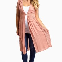 Dusty Pink Lace Accent Button Front Maternity Cardigan