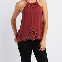 Embroidered-Crochet Bib Neck Tank Top