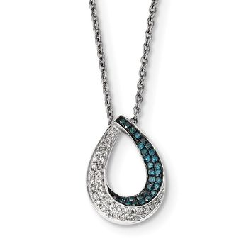 1/4 Ctw Blue & White Diamond Open Teardrop Necklace in Sterling Silver
