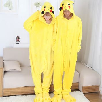 Anime cospaly pokemon pikachu Adult pajamas Onesuit fantasias mascot pikachu costume halloween costumes for women and men S-2XL