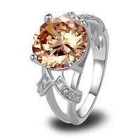Very Alluring Lab grown Champagne Morganite silver 18K Gold Plated Fashion Ring