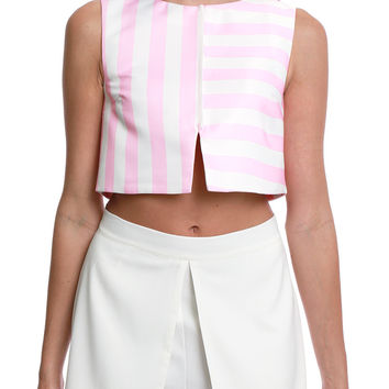 Storyteller Stripe Crop Top - Pink/White