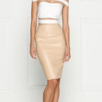 High Authority White Off The Shoulder Cut Out Bandage Crop Top