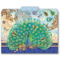 Punch Studio Decorative 10 Letter Size File Folders - Royal Peacocks