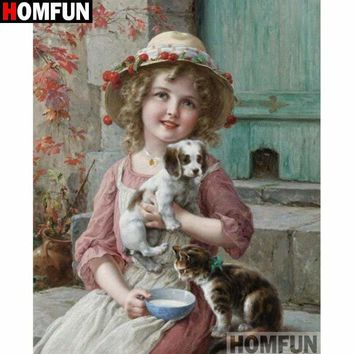 5D Diamond Painting Girl with a Puppy and a Kitten Kit