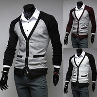 New Color Contrast Fashion Men Cardigan