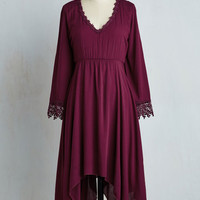 Boho Mid-length 3 A-line Wisp Reminds Me Dress in Cranberry