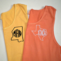 Monogram Tank Top Comfort Colors Unisex Beach Wear Swim Suit Cover Custom Embroidery State, Anchor Monogram