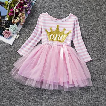 Baby Girl Christening Gowns Baptism Clothes 1 Year Birthday Dress Infant Party Dress Baby Stripe Crown Dress Wear Vestido