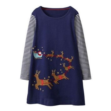 Jumping meters fashion dresses for girls autumn spring clothes cotton dresses applique animals party princess girl dresses