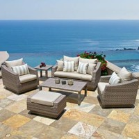 RST Brands Cannes 6-Piece Patio Seating Set with Slate Grey Cushions OP-PEOSS6-CNS-SLT-K at The Home Depot - Mobile
