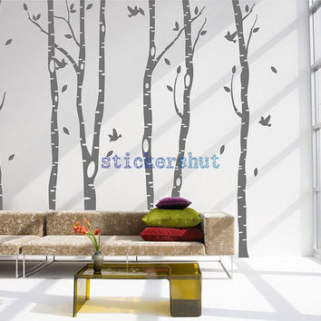 forest tree wall decal wall tree birds decal birch  tree nursery decal  for living room wall decor