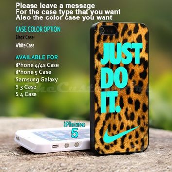 Just Do It, Nike Leopard Tiffany - For iPhone 5 Black Case Cover