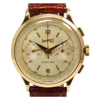 Eberhard Rose Gold Extra-Fort Chronograph Wristwatch