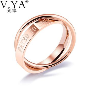 V.YA Classical Letters Rings Fated To Love You for Women Rose Gold Color Female 2 Bands In Finger Party Jewelry Gifts DropShip
