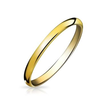 Thin Dome Couple Wedding Band Shiny 14K Gold Plated Tungsten Rings 2mm