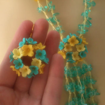 Turquoise jewelry - Polymer necklace and earrings - Flower wreath jewelry - Handmade