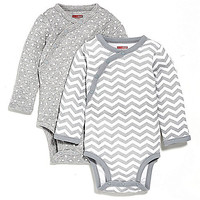 Skip*Hop® Side Snap Long Sleeve Print Bodysuit 2-Pack in Grey Multi