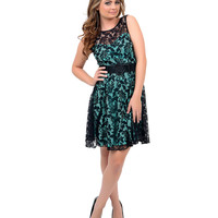 Black & Mint Floral Lace Belted Short Dress