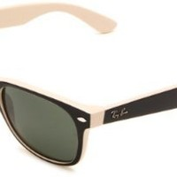 Ray-Ban New Wayfarer New Wayfarer Square Sunglasses,Black On Beige Frame/Green Lens,55 mm