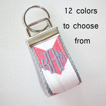 mini FINGER Key FOB / KeyChain / Wristlet  - inital monogram circle on your choice of chevron preppy -  custom