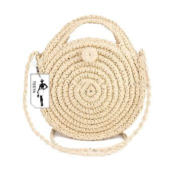 Straw Crossbody Bag Women Weave Shoulder Bag Round Summer Beach Purse and Handbags