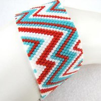 Abstract Southwestern Peyote Cuff 2009 by SandFibers on Etsy