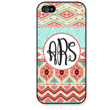Aztec iPhone 5 Case, Personalized iPhone 5 5S 4 4S Case, Monogram iPhone 5 Case, Aztec Tribal Pink Turquoise