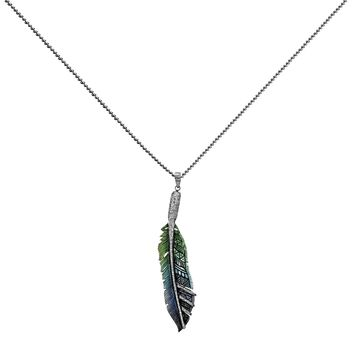 1.87ct Diamonds 925 Sterling Silver Painted Tribal Bone Feather Pendant Necklace