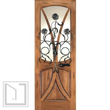 AN-2004-1 Mahogany Tree Lite Hand Carved Art Nouveau Single Door Forged Iron